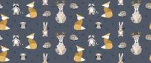 Seamless Pattern With Cute Woo...