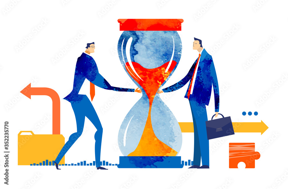 Fototapeta Business people handshake as symbol of finding solution and make a progress. Working together. Business concept illustration.
