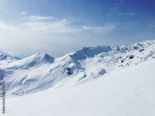 Fototapety, obrazy: Scenic View Of Snowcapped Mountains Against Cloudy Sky