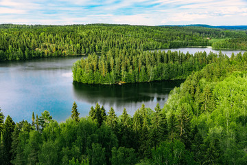 Fototapeta Do Spa Aerial top view of blue lakes with islands and green forests in Finland.
