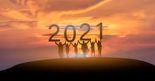 Happy New Year 2021, Silhouett...