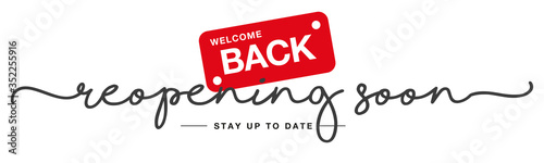Reopening soon handwritten and display tipography lettering stay up to date blac Wallpaper Mural
