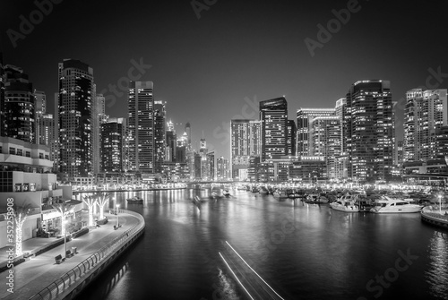 Fototapety, obrazy: River Amidst Illuminated Modern Buildings In City At Night
