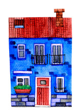 Blue House With A Tiled Roof. Watercolor Stock Illustration. Two-storey House Isolated On A White Background