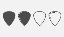 Set Of Guitar Pick Icon Isolat...