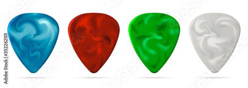 Set of guitar pick isolated on white background Fototapeta