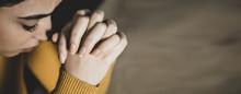 Prayer Woman In Dark Background