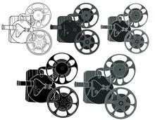 Retro Movie Projector Icon Wit...