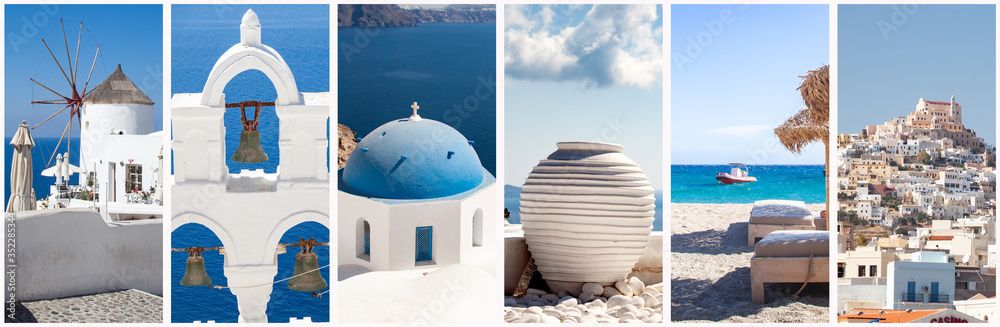 Fototapeta greece travel background collage of images