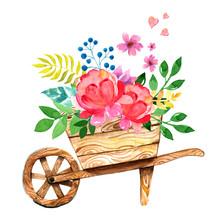 Watercolor Wooden Garden Cart ...