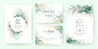 Golden greenery wedding invitation template set with leaves, glitter, frame, and border. Floral decoration vector for save the date, greeting, thank you, rsvp, etc