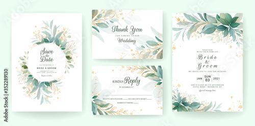 Fotografia Golden greenery wedding invitation template set with leaves, glitter, frame, and border