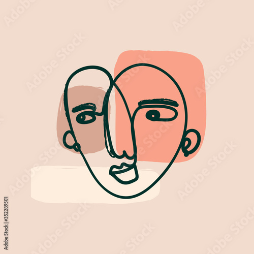 Modern abstract Face. Cubism painting style. Contemporary female or male silhouette. Hand drawn Outline Vector isolated illustration. Continuous line, minimalistic concept