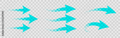Photo Set of blue arrow showing air flow isolated on transparent background - stock ve