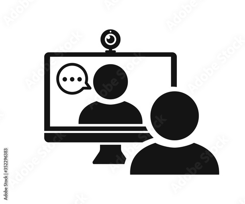 Fototapeta Web conference icon with people and web camera – stock vector