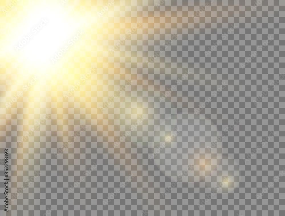 Fototapeta Golden glowing light effect on transparent background. Sun light. Summer sunny backdrop. Magic banner. Sunshine with rays. Sunlight lens flash. Vector illustration