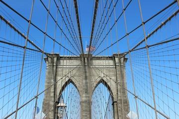 Brooklyn Bridge Against Clear Blue Sky