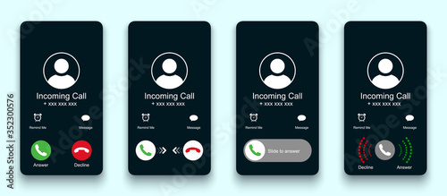Obraz Mobile call screen template. Call screen smartphone interface mockup. Phone mockup contact with handset icon, flat person icon, take a phone, incoming call, answer and decline phone call buttons - fototapety do salonu