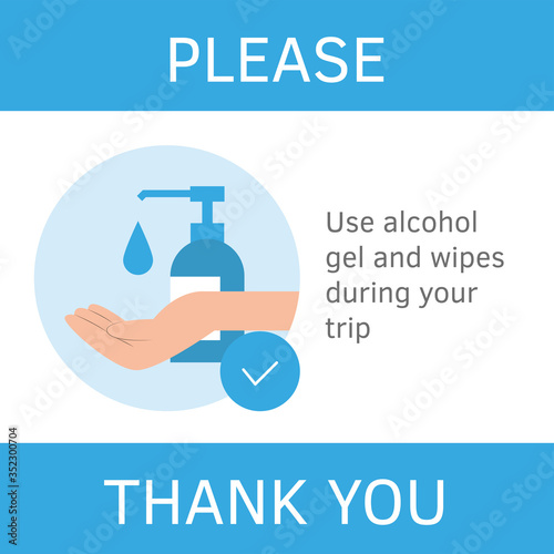 Photo Hand sanitizer, hand desinfection concept banner