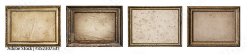 Obraz Collection of old wooden frames with canvas isolated on a white background. Artistic canvas and frames design element on the theme of art, creativity, painting, photography.  - fototapety do salonu