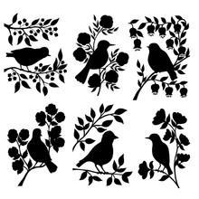 Set Of Bird Silhouettes In Flo...