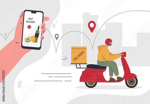 Obraz Online delivery service concept,fast delivery home and office.Scooter courier,man in respiratory mask.Webpage, app design.City landscape background.Vector flat illustration.Colorful character design - fototapety do salonu