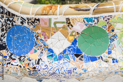 Close up photos of benches made of broken ceramic pieces in the Gaudi Park in Ba Canvas Print