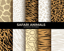 Seamless Patterns Of Animal Fur Print With Texture, Leopard, Tiger And Zebra Seamless Vector Abstract Backgrounds Set. African Animals Fur, Animal Skin Patterns, Brown Jaguar, Giraffe, Panther