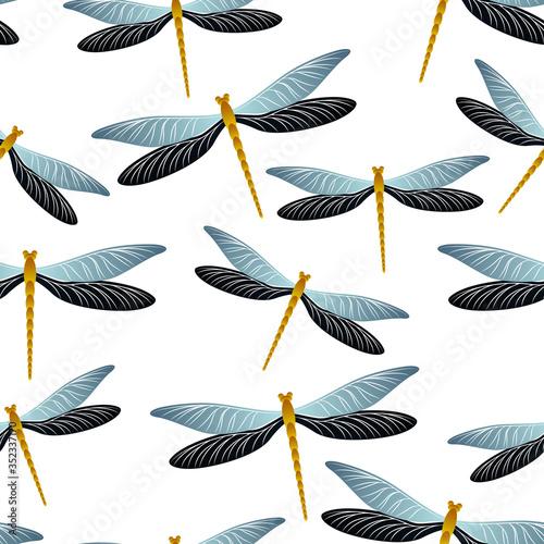 Dragonfly trendy seamless pattern Wallpaper Mural