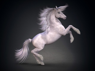 Obraz na płótnie Canvas Beautiful white horse. 3D rendering