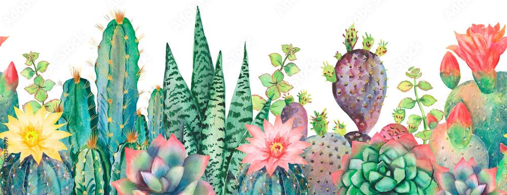 Fototapeta Watercolor seamless border cactus pattern.