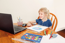 Girl Child Learning Art Lesson Online On Laptop Internet. Virtual Drawing Painting Class On Video During Self-isolation At Home. Distant Remote Video Education. Modern Homeschool Study New Normal.