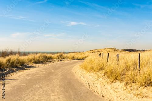 Fototapeta Road Amidst Sand Against Sky obraz na płótnie