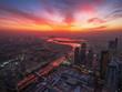 canvas print picture - Dubai skyline at sunrise. United Arab Emirates landscape, modern city from above.