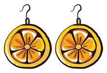 Lemon Earrings , Illustration,...