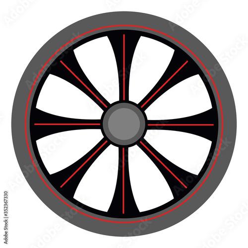 Alloy wheel, illustration, vector on white background Canvas Print