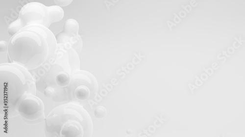Fototapeta Organic white fluid metaball liquid drops floating in mid-air, abstract modern d
