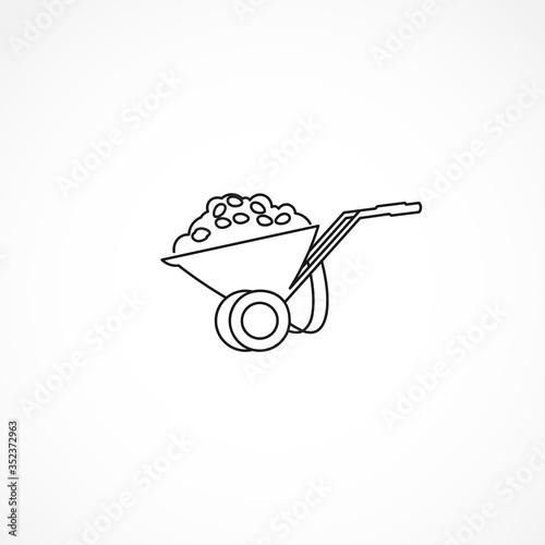 Fotografia, Obraz handcart line icon. handcart isolated line icon
