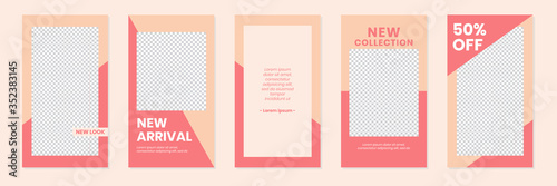 Photo Slides Abstract Unique Editable Modern Social Media Pastel Peach Pink Red Banner Template