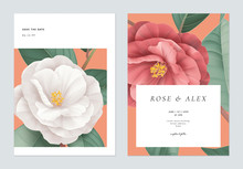 Floral Wedding Invitation Card Template Design, White And Red Semi-double Camellia Flowers With Leaves On Bright Red
