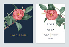 Floral Wedding Invitation Card Template Design, Red Semi-double Camellia Flowers With Leaves On Dark Blue And White