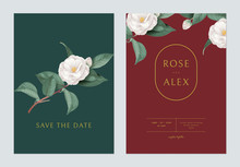 Floral Wedding Invitation Card Template Design, White Semi-double Camellia Flowers With Leaves On Green And Red