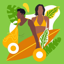 Colorful Summer People Vector Illustration
