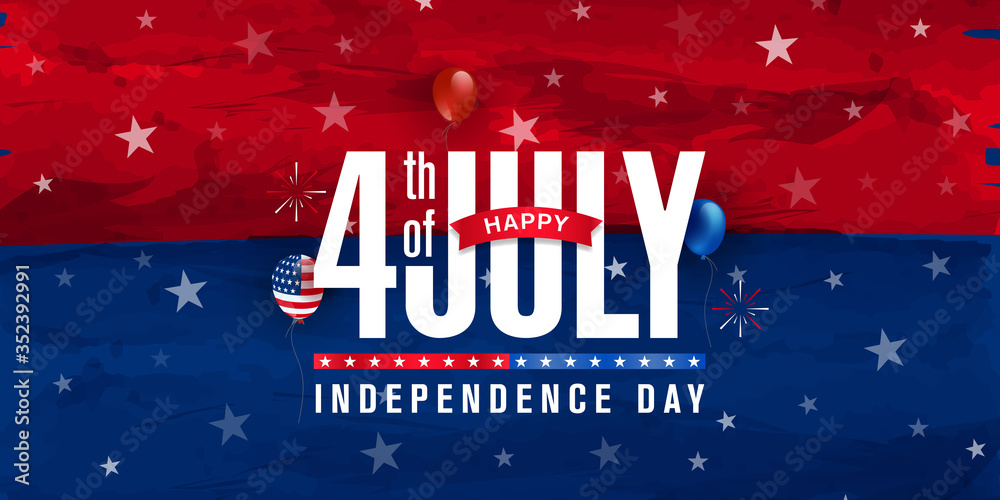 Fototapeta Happy 4th of July, Independence day greeting design on red & blue watercolor with star, balloon & fireworks burst. Vector illustration.