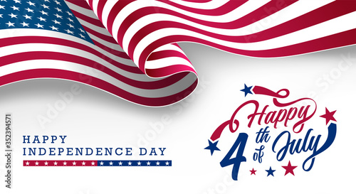 Obraz America Independence Day, Happy 4th of July typographic design banner with waving USA National Flag on top. Vector Illustration. - fototapety do salonu