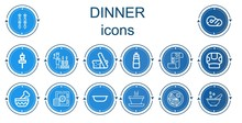 Editable 14 Dinner Icons For W...