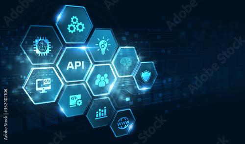 Obraz API - Application Programming Interface. Software development tool. Business, modern technology, internet and networking concept. - fototapety do salonu