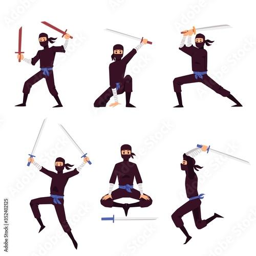 Photo Set of Japanese Ninja assassin characters, flat vector illustration isolated