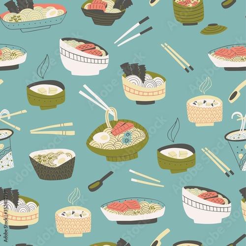 Fototapeta Seamless japanese food pattern. Hand drawn noodle illustration. obraz
