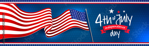 Waving American national flag with 4th of July independence day greeting. Star pattern on dark blue background. Banner, web slider, postcard, etc. vector design.